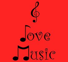 I Love Music - Retro Red by moonshinepdise