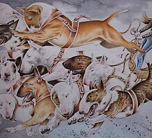 BULLIE CART Watercolour of Bull Terriers Pulling a Cart! by threebrownhares