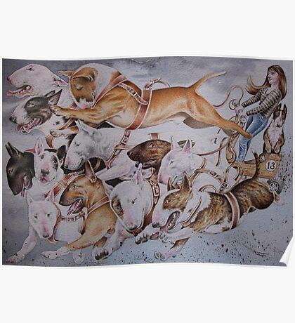 BULLIE CART Watercolour of Bull Terriers Pulling a Cart! Poster