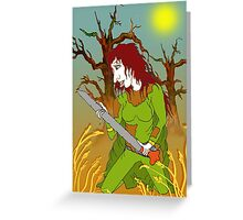 Sword Woman of the Old Forest Greeting Card