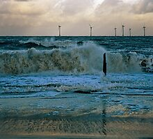 Rough Sea Caister Wind Farm 2 by Gary Rayner