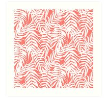 Tropical print in pink and white with palm leaves Art Print