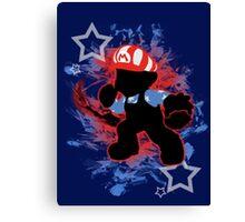 Super Smash Bros. American Mario Silhouette Canvas Print
