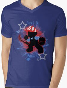 Super Smash Bros. American Mario Silhouette Mens V-Neck T-Shirt