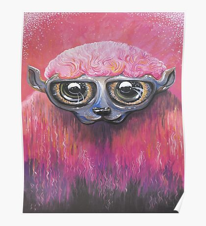 Pink Sheep Acrylic Color Painting Poster