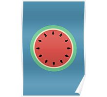 Watermelon Polka Dot on Light Blue Poster