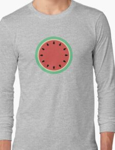 Watermelon Polka Dot on Light Blue Long Sleeve T-Shirt