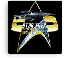 StarTrek  Enterprise Galaxy Class Dreadnought Com badge Canvas Print