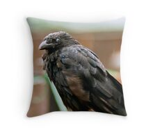 Bird on Garden Fence Throw Pillow