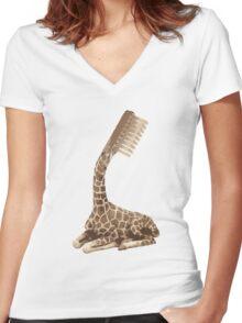 giraffe brush Women's Fitted V-Neck T-Shirt