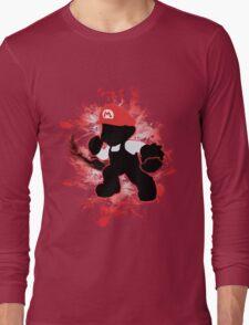 Super Smash Bros. White/Red Fire Mario Silhouette Long Sleeve T-Shirt