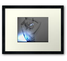 Young Woman - Anthracite with blue Flashes Framed Print