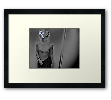 Woman in Pearlgrey with Blue Sparks Framed Print