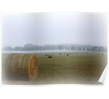 Misty Morn...over the hayfield Poster