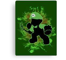 Super Smash Bros. Green Mario Silhouette Canvas Print