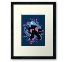 Super Smash Bros Blue Mario Silhouette Framed Print