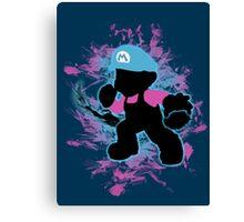 Super Smash Bros Blue Mario Silhouette Canvas Print