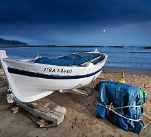 Boat in the beach. Nocturne by Josep M Penalver