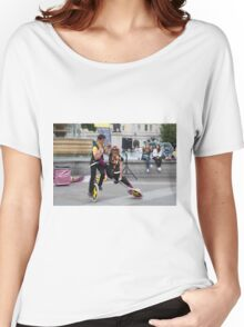 Witty Look perform in Trafalgar Square during the Buskin London Festival Women's Relaxed Fit T-Shirt