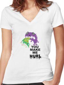 You Make Me Hurl - on lights Women's Fitted V-Neck T-Shirt
