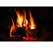 Fire in fireplace Photographic Print