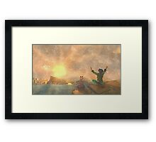 Yoga face to the Sun - 瑜伽面对太阳 Framed Print