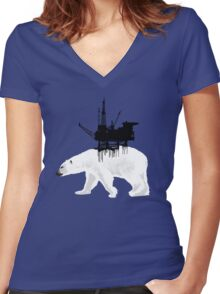 Save the Polar Bear Women's Fitted V-Neck T-Shirt