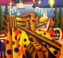 structured musician in softscape with dancers and balloons  by Alan Kenny