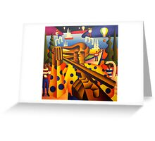 structured musician in softscape with dancers and balloons  Greeting Card