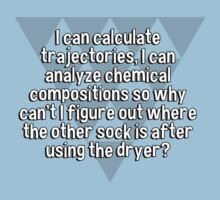 I can calculate trajectories' I can analyze chemical compositions so why can't I figure out where the other sock is after using the dryer? by margdbrown