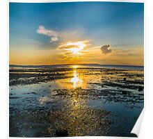 Summer sunset over the beach of Whitstable, Kent - Square Photo Poster