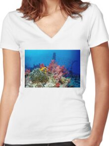 Big small world Women's Fitted V-Neck T-Shirt
