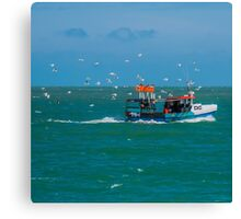 Fishing boat off of the coast of Broadstairs, Kent - Square Photo Canvas Print