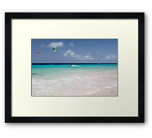 Kite Surfing, Atlantis Beach, Bonaire Framed Print