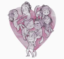 Heart Pile One Piece - Short Sleeve