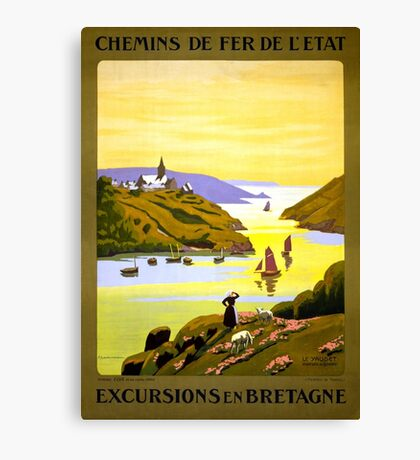 France Bretagne Vintage Travel Poster Restored Canvas Print