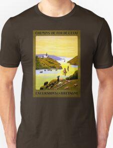 France Bretagne Vintage Travel Poster Restored Unisex T-Shirt