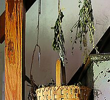 Basket and Drying Herbs by Susan Savad