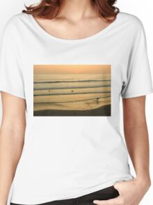 Californian Gold - Sunset, Beach, Waves and Surfers - Oh So California Women's Relaxed Fit T-Shirt