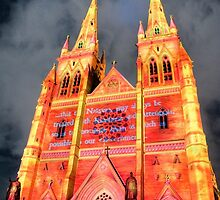 St Mary's Cathedral lit for Vivid Sydney 2010 by Erik Schlogl