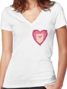 i love waddles patch Women's Fitted V-Neck T-Shirt