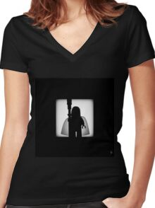 Shadow - The White Women's Fitted V-Neck T-Shirt