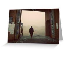 Silhouette of a man at a monastery Greeting Card