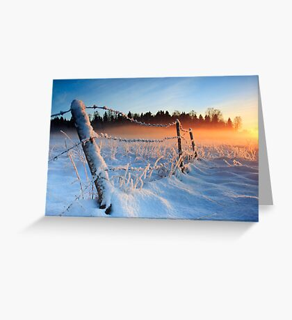 Warm cold winter sunset, Eesti looduskalender maastik Greeting Card