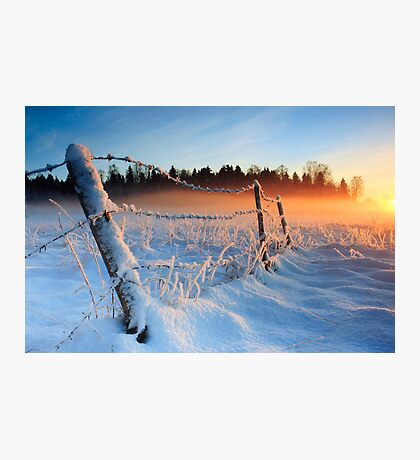 Warm cold winter sunset, Eesti looduskalender maastik Photographic Print