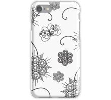 Black Abstract Flowers and Butterfly. iPhone Case/Skin