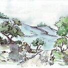 Landscape ink sketch and colour wash by Maree  Clarkson