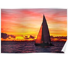 Yacht sailing at sunset Poster