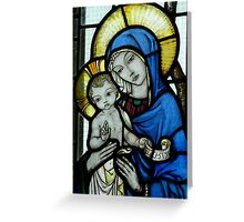 The Virgin Mary & Child - detail of the east window at Tyneham Church Dorset Greeting Card