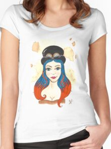 Blue and Orange Steampunk Women's Fitted Scoop T-Shirt